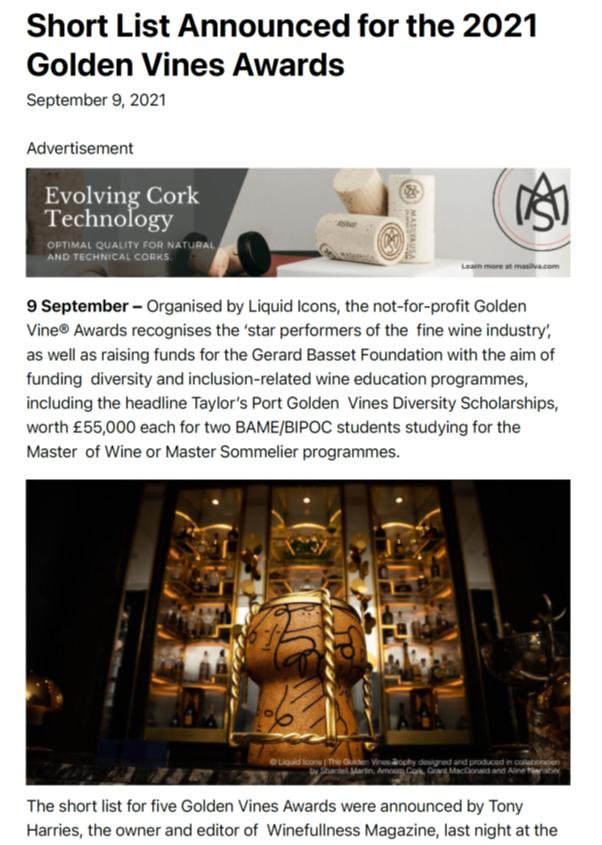 Announced for the 2021 Golden Vines Awards